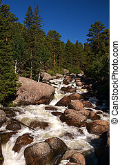 Mountain Scenic - Cascading falls over smooth boulders in...