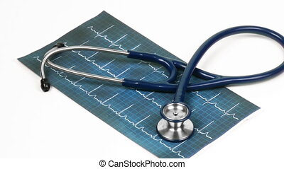 Stethoscope turning on an electrocardiogram