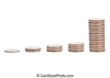 stos, Od, Na, monety, odizolowany, Na, biały, tło,