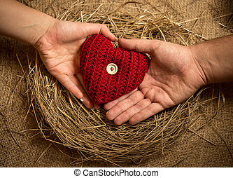 man and woman holding knitted heart in birds nest -...