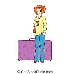 Tourist girl with luggage