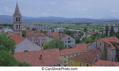 Sinj town center panorama - View of the town Sinj center...