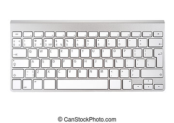 Keyboard - Aluminum computer keyboard isolated on white...