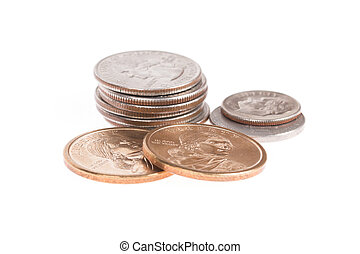 Pile of US coins isolated on white background