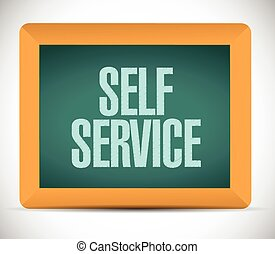 self service board sign illustration design over a white...