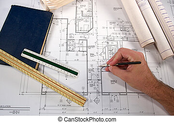 Architectural Blueprints - Architectural blueprints of new...