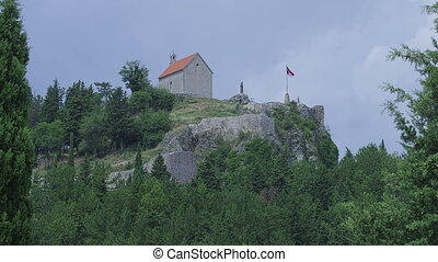 Sinj old town on top of the hill - The small church of St....