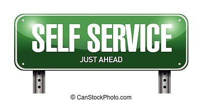 self service road sign illustration design over a white...