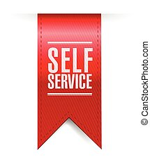 self service red hanging banner illustration design over a...