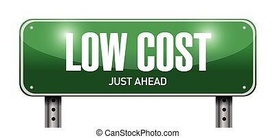low cost street sign illustration design over a white...