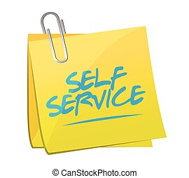 self service post it memo illustration design over a white...
