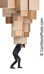 Courier delivers big order, isolated, white background