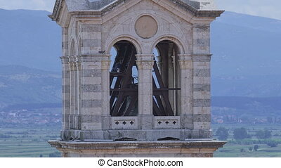 Church tower in Sinj - View of the church tower close up in...