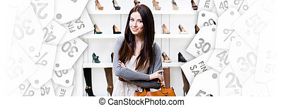 Half-length portrait of lady in shopping center. Black...