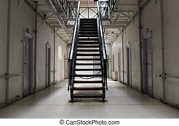 prison - the hallway of a prison cell block