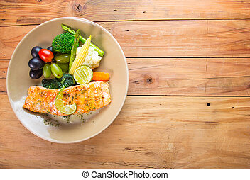 Salmon steak food for lunch