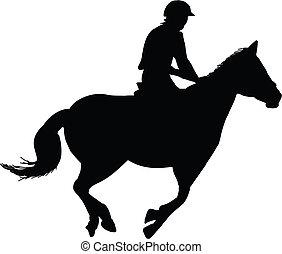 jeździec, koń, jeździec