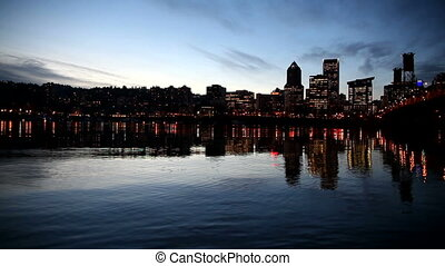 City Lights in Portland OR at Night - Panning Movie of...