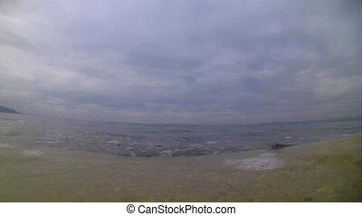 biggest in Turkey salt lake Van - light waves of lake Van...
