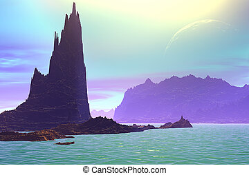3D rendered fantasy alien planet. Rocks and lake - Alien...
