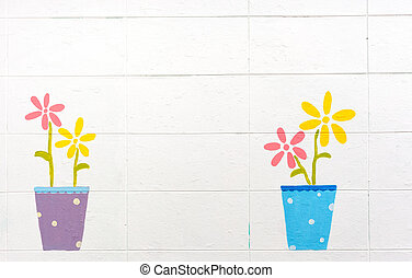 flowers paint on a white wall background - flowers paint on...