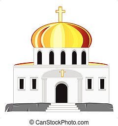 Church with dome - Vector illustration church on white...