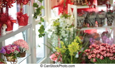 Flower shop interior with floral arrangements and bouquets...