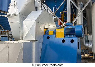 Blue fumes ventilator - polish coal power station