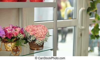 Flower shop interior with floral arrangements and bouquets