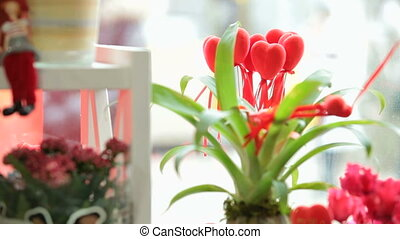Shop window display with flowers and gifts for Valentine's Day