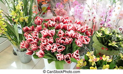 Fresh cut flowers bouquets in flower shop