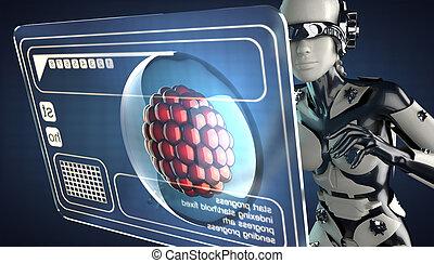 Cyborg, mujer, y, holograma, exhibición,