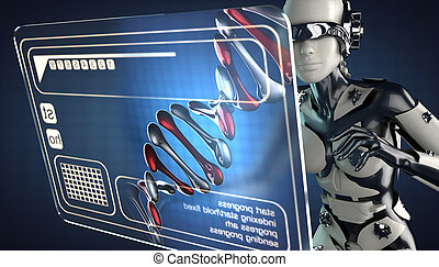 cyborg woman and hologram display - robot woman and hologram...