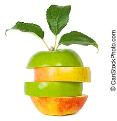 Mixed apple on white background