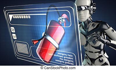 cyborg woman and hologram display - robot woman and hologram...