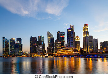Buildings in Singapore city in night scene background ,...