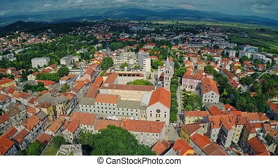 Sinj old town, aerial shot - Copter aerial view of the...