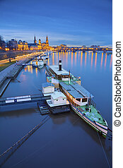 Dresden. - Image of Dresden, Germany during twilight blue...