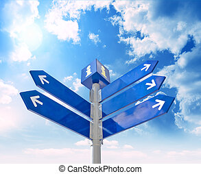 waymark - Blank signpost with arrows over blue sky - just...