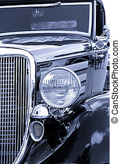 Classic Car - Close up shot of classic car in black and...