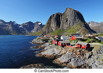 Norway village with mountain - Lofoten, Reine