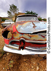 Old Rustic Car Body - Colorful old rustic car body along...