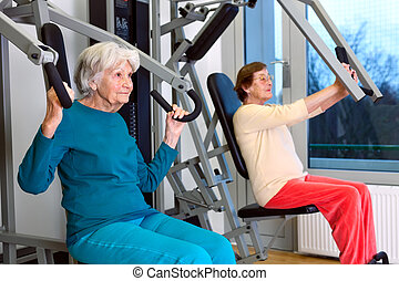Senior Women Doing Chest Press Exercise - Two Senior Women...