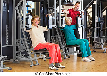 Smiling Elderly Women at the Gym with Instructor - Smiling...