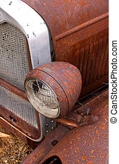 Rustic Car Body - Colorful old rustic car body along route...