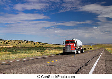 Historic Route 66 - Single construction truck on historic...