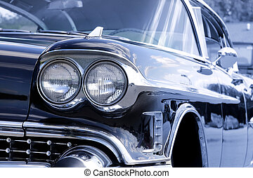 Classic car - View of classic car in blue color tone