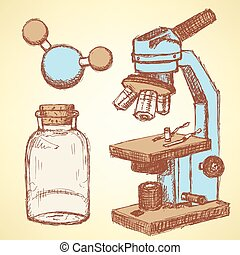 Sketch chemical set  in vintage style, vector