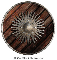 old wooden medieval shield isolated