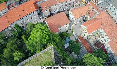 Alka procession in Sinj, aerial shot - Copter aerial view of...